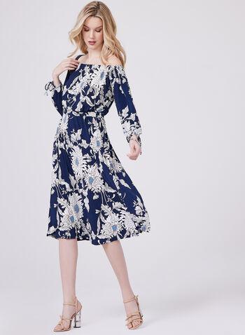 Maggy London - Robe florale à épaules dénudées, Bleu, hi-res