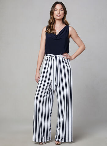 Emma & Michele - Stripe Print Jumpsuit, Blue, hi-res