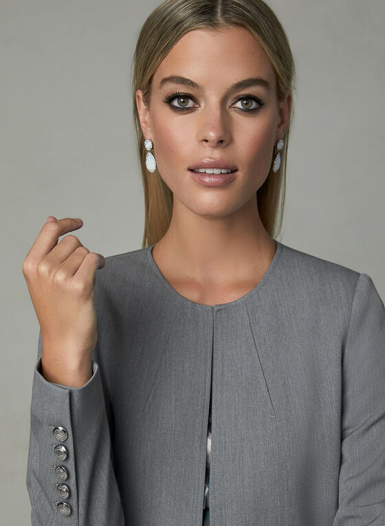 Long Open Front Jacket, Grey, hi-res