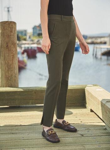 Pantalon Giselle à jambe étroite, Vert,  pantalon, étroit, giselle, pinces, poches, automne hiver 2020