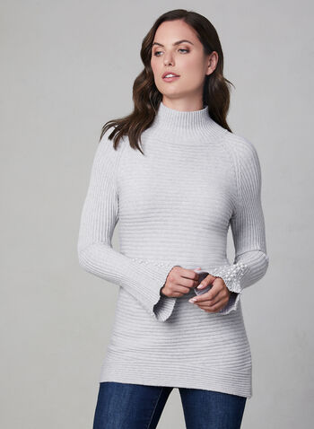 Bell Sleeve Knit Sweater, Grey, hi-res,  pearls, bell sleeves, long sleeves, turtleneck, ribbed, textured, fall 2019, winter 2019