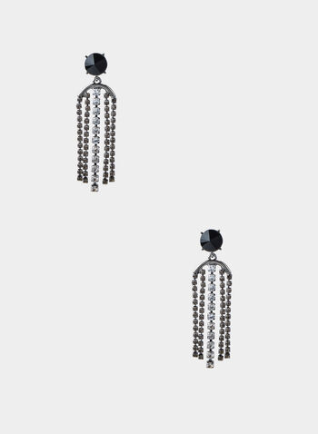Crystal Fringe Stud Earrings, Grey,  rhinestone, drop earrings, long earrings
