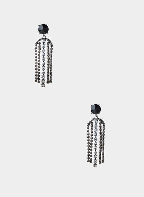 Crystal Fringe Stud Earrings, Grey