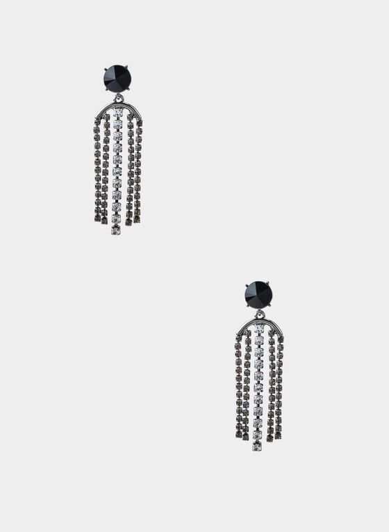 Crystal Fringe Stud Earrings, Grey