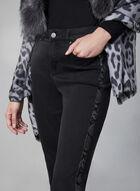 Jeans à jambe étroite et bordure peau de serpent, Gris, hi-res