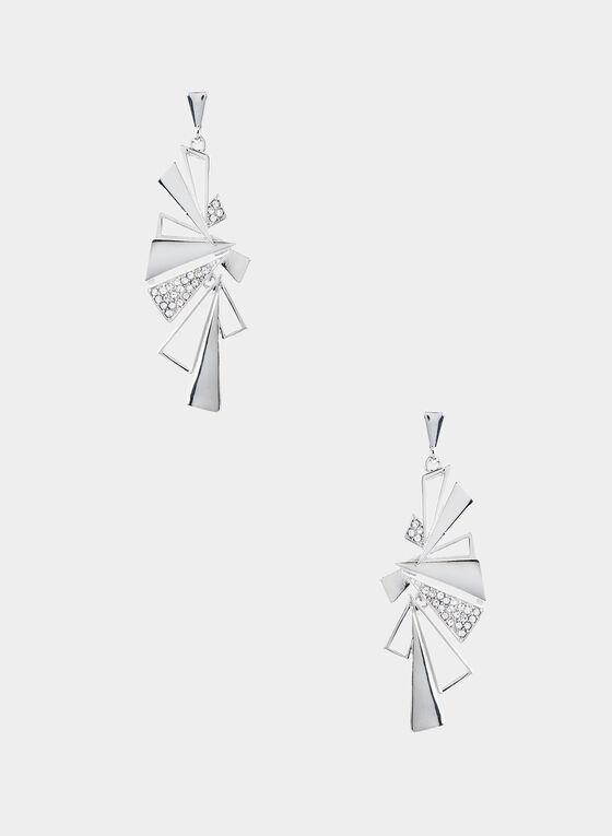 Boucles d'oreilles à pendants géométriques, Argent