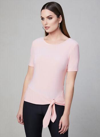 Frank Lyman - Front Tie Jersey Top, Pink, hi-res