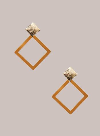 Open Lozenge Earrings, Yellow,  jewellery, accessories, earrings, lozenge, open, wavy, resin, metallic, spring summer 2021