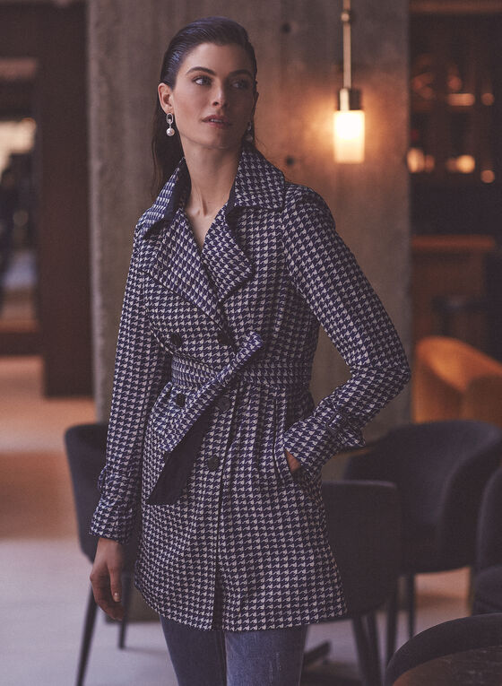 Novelti - Houndstooth Print Double Breasted Trench, Blue