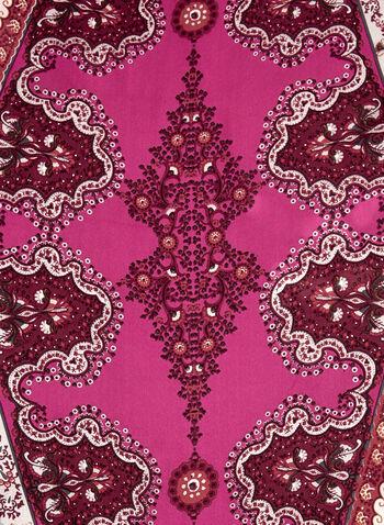 Foulard imprimé cachemire et brillants, Rouge, hi-res