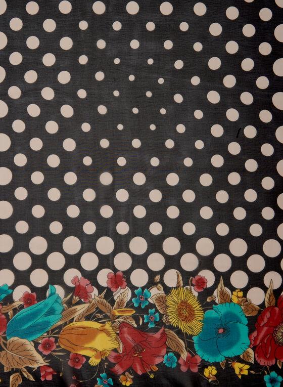 Foulard à motifs fleurs et pois , Noir
