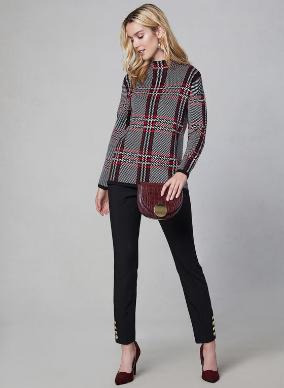 Plaid Print Mock Neck Sweater, Black