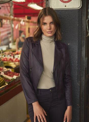 Vex - Faux Leather Zipper Detail Jacket, Purple,  jacket, faux leather, zipper detail, notched collar, fall winter 2020