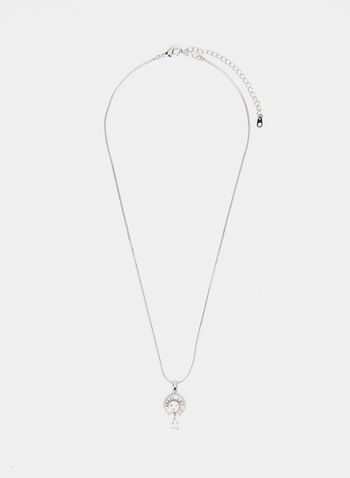 Pearl & Crystal Pendant Necklace , Off White,  necklace, crystal, pearl, fall winter 2019
