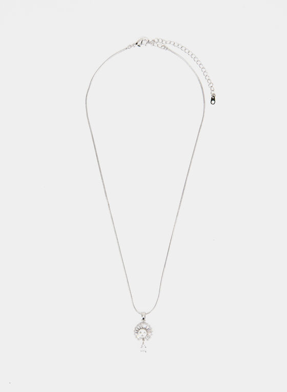 Pearl & Crystal Pendant Necklace , Off White