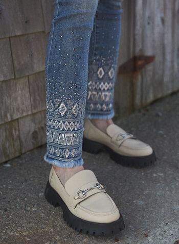 Sequin Embellished Hem Jeans, Blue,  fall winter 2021, jeans, denim, pants, stretch, mid rise, slim leg, 5 pocket, belt loops, sequin, stud, embellished, frayed, detail