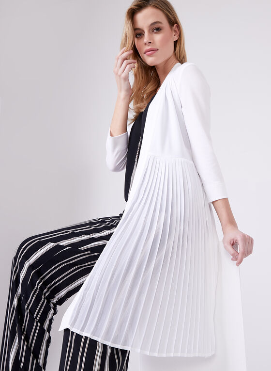 Long Sleeve Pleated Duster, Off White, hi-res