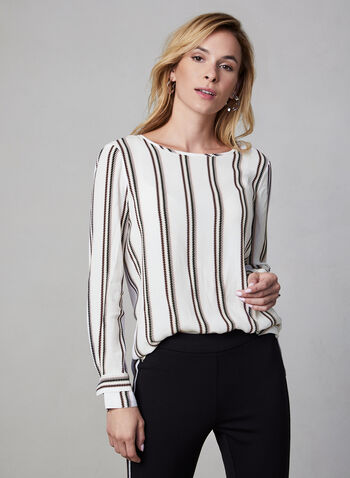 Zigzag Print Blouse, White, hi-res,  blouse, long sleeves, scoop neck, side slits, fall 2019, winter 2019