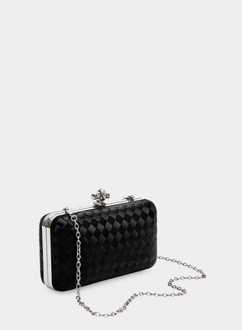 Satin Box Clutch, Black,  basket weave, rectangular, satin, fall 2019, winter 2019