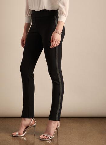 Rhinestone Stripe Pull-On Pants, Black,  pants, pull-on, rhinestones, side stripe, slim leg, spring summer 2020