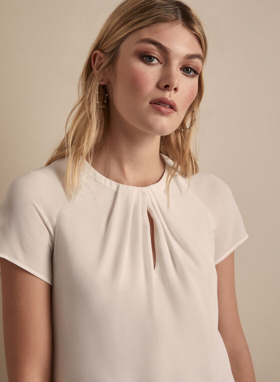 Pleated Keyhole Detail Blouse, Off White