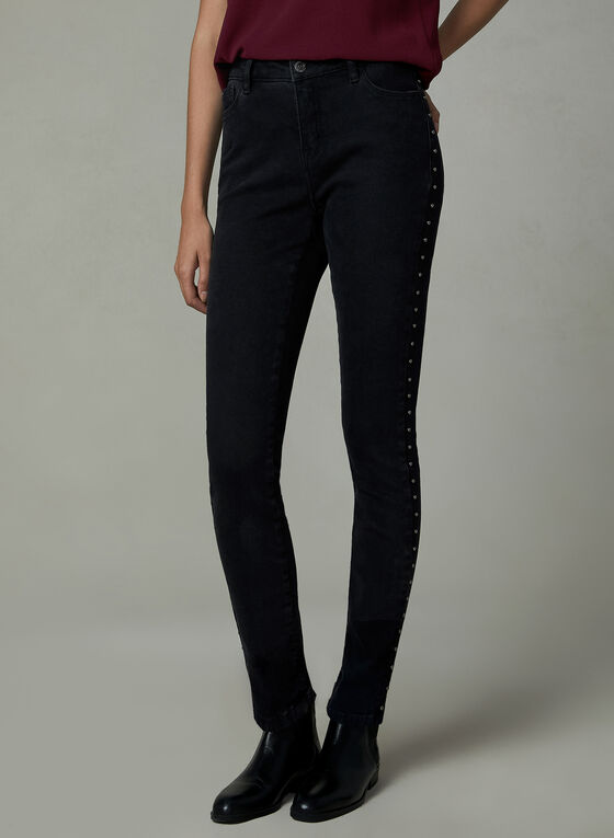 Studded Slim Leg Jeans, Black, hi-res