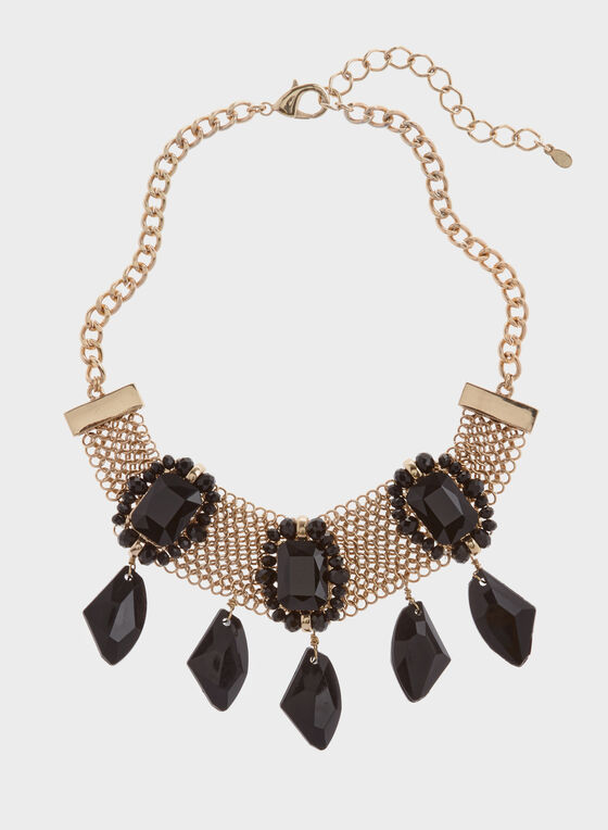 Metallic Mesh Collar Necklace, Black, hi-res