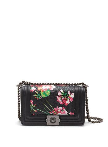 Sac à main aspect croco à motif floral, Noir, hi-res