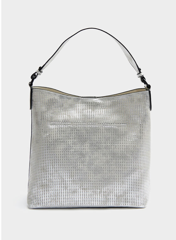 Perforated Metallic Finish Bucket Bag, Silver, hi-res