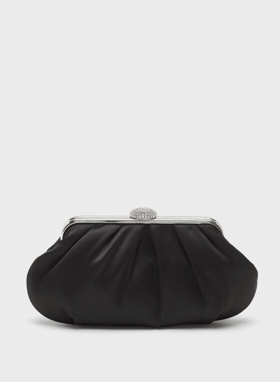 Crystal Closure Satin Clutch, Black, hi-res