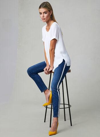 Contrast Trim Slim Leg Jeans, Blue, hi-res,