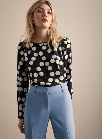 Polka Dot Print Blouse, Black,  blouse, top, polka dot, crepe, long sleeves, spring 2020