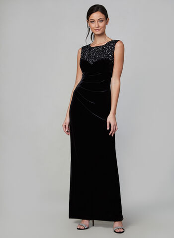 Alex Evenings - Embroidered Velvet Dress , Black, hi-res,  dress, evening dress, long dress, velvet, velvet dress, rhinestones, embroidered, holiday, fall 2019, winter 2019