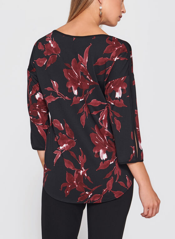 Floral Print Tie Detail Top, Red, hi-res