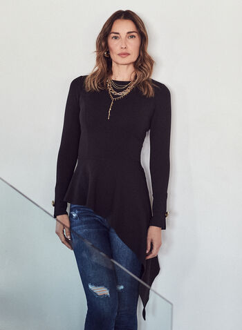 Asymmetric Hemline Top, Black,  top, asymmetric, round neck, long sleeves, cuff button, long, stretchy, crepe, spring summer 2021