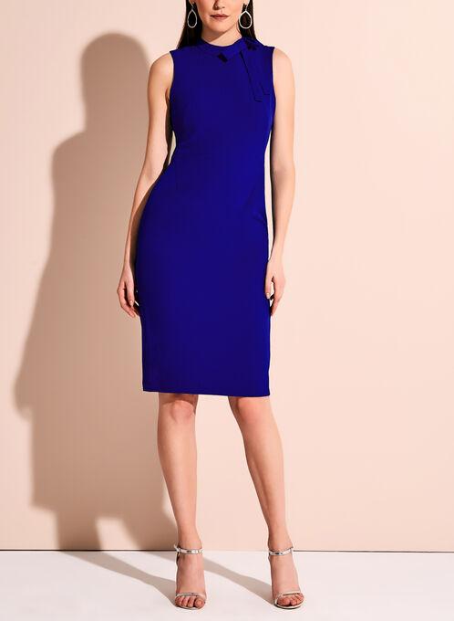 Maggy London Bow Neck Crepe Dress, Blue, hi-res
