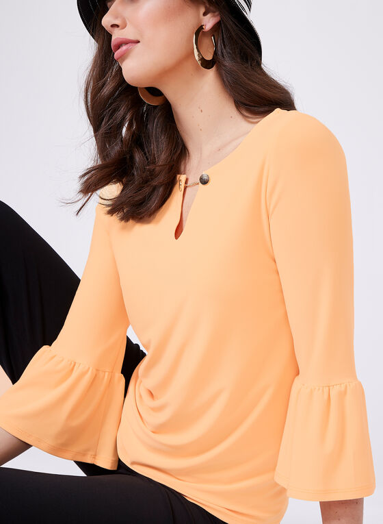 ¾ Bell Sleeve Jersey Top, Orange, hi-res