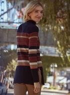 Striped Tunic Sweater, Black