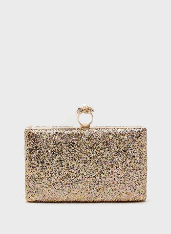 Metallic Glitter Ring Clasp Clutch, Brown, hi-res