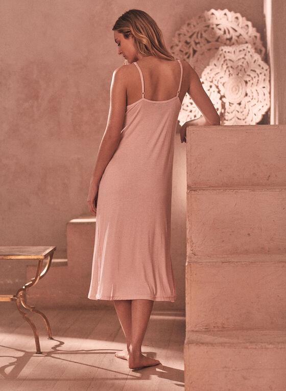 Dot Print Ruffle Nightgown, Beige