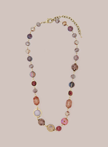 Multi-Colour Stone Necklace, Pink,  fall winter 2020, jewellery, accessories, necklace, beads, stones, multi-coloured, golden