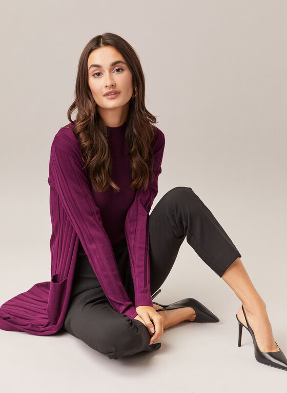 Long Ribbed Knit Cardigan, Purple