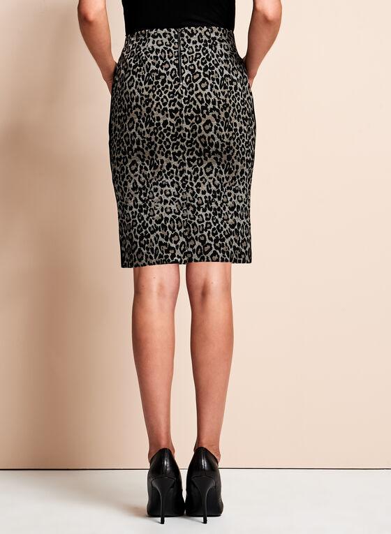 Ponte Leopard Print Pencil Skirt , Black, hi-res