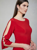 Joseph Ribkoff - Pearl Detail Sheath Dress, Red, hi-res