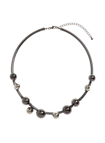 Rigid Collar Necklace, Grey, hi-res