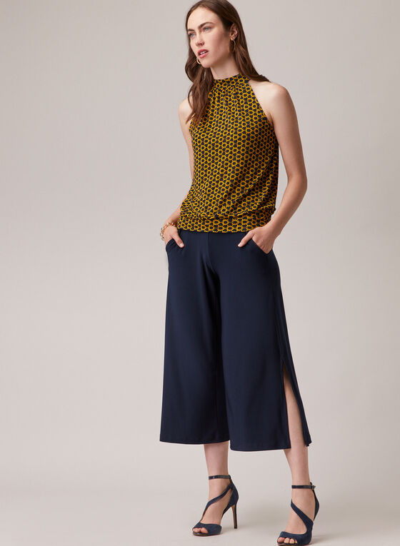Slit Hem Gaucho Pants, Blue