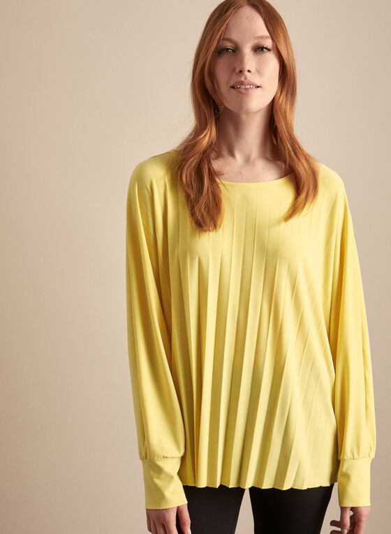Frank Lyman - Pleated Boat Neck Top, Yellow