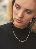 Twisted Chain & Leather Cord Necklace, Silver