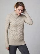 Cable Knit Turtleneck, Off White, hi-res