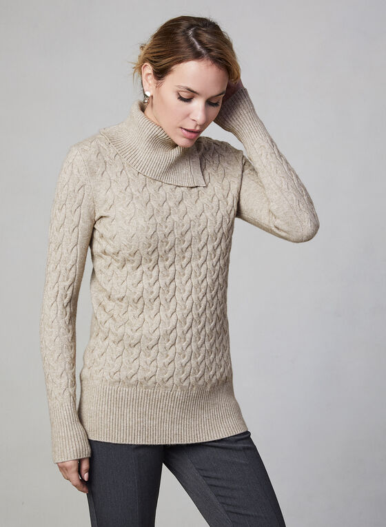 Cable Knit Turtleneck, Off White
